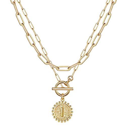 Watkings Collares con inicial en capas de oro para mujer, chapado en oro de 14 quilates, delicados capas, collar de eslabones, patrón del alfabeto, regalos de cumpleaños