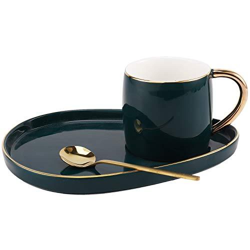 TOPSALE Japanischen Stil Keramik Tasse mit Teller Kreative Gold Kaffee Tasse Snack Dish Set Einfache Englische Nachmittags Tee Tasse mit L?Ffel