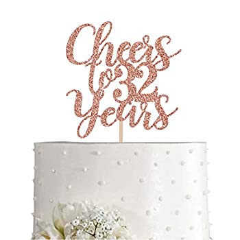 32 Rose Gold Glitter Cheers to 32 Years Cake Topper Happy 32nd Birthday Party Toppers Decorations Supplies