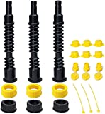 ORANDESIGNE Flexible Gas Can Spouts Replacement and Vents Kit Ultra Long Fuel Tank Nozzle with Filter Screen 2 Collar Screw Cap for Pre 2009 Plastic Gas Can Kerosene Water Jug 1 2 5 Gallon Pack of 3