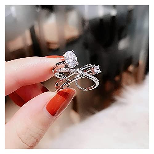Emishin Anillo Abierto Personalizada Multicapa Dunge Anillos de Diamante de Agua Mujer Japón y Corea del Sur Simple Temperans asignación y el índice hacia Arriba del Anillo del Anillo (Color: Plata)
