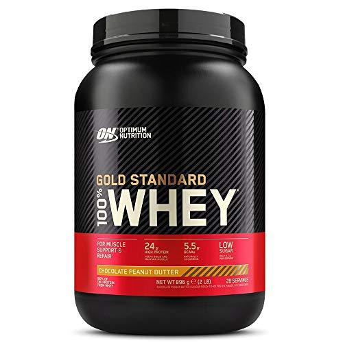 Optimum Nutrition Gold Standard 100% Whey Protéine en Poudre avec Whey Isolate, Proteines Musculation Prise de Masse, Chocolat Beurre de Cacahuète, 28 Portions, 0.9kg, l'Emballage Peut Varier
