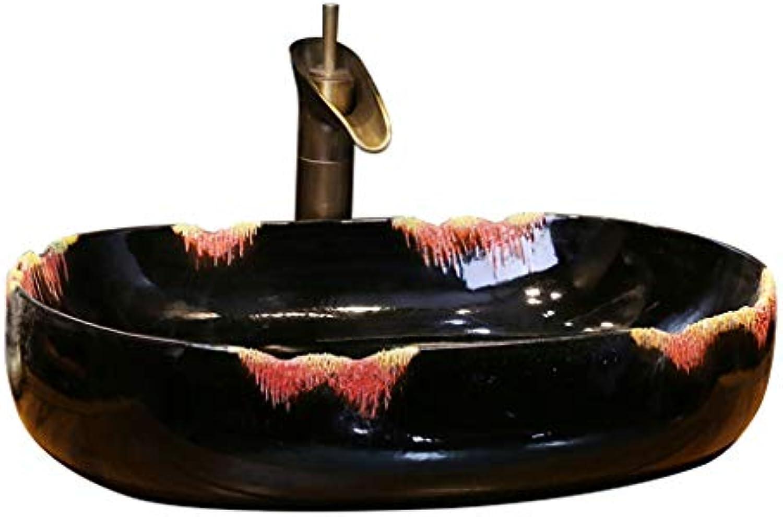 Badezimmer Farbe Rip Kreative Kunst über Gegenbecken Ovales Keramikwaschbecken Antikes Waschbecken Retro Waschbecken Waschpltze
