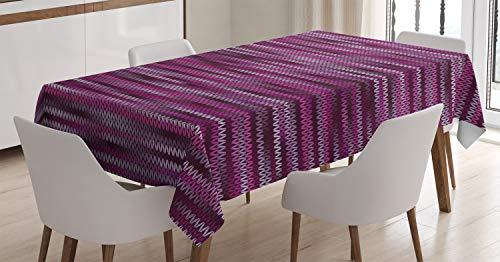 ABAKUHAUS Magenta Mantele, Patrón de Punto de la Vendimia, Fácil de Limpiar Colores Firmes y Durables Lavable Personalizado, 140 x 200 cm, Violeta Fucsia