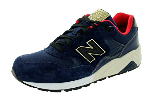 New Balance Men's 580 Lifestyle Navy with Red & Gold Running Shoe 10.5 Men US