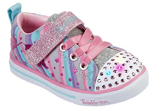 Skechers Kids Girls' Sparkle Lite-Magical Rainbows Sneaker, Grey/Multi, 9 Medium US Toddler