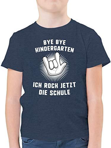 Einschulung und Schulanfang - Bye Bye Kindergarten Ich Rock jetzt die Schule Hand - 140 (9/11 Jahre) - Dunkelblau Meliert - Tshirt Schulkind 2020 - F130K - Kinder Tshirts und T-Shirt für Jungen