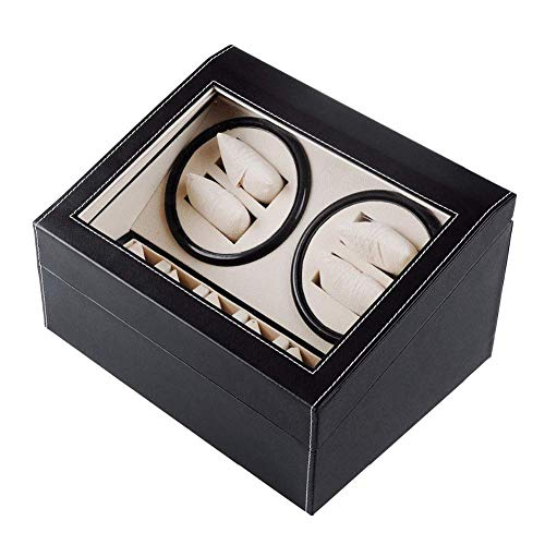 FACAIA 4+6 Automatic Watch Winder Box Black, Wooden Battery Silent Watch...