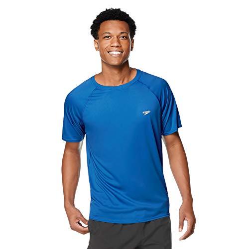 Speedo Men's Uv Swim Shirt Short Sleeve Regular Fit Solid, Turkish Sea, Medium