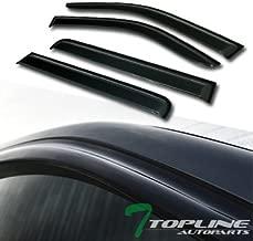 Topline Autopart Smoke Window Visors Deflector Vent Shade Guard 4 Pieces For 05-17 Nissan Frontier 4 Door Crew Cab