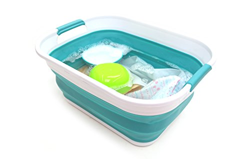 SAMMART 17.5L (4.6 Gallon) Small Collapsible / Foldable / Pop Up / Portable Washing Tub, Water Capacity 13.5L/3.5 Gallon (1, Bright Blue)