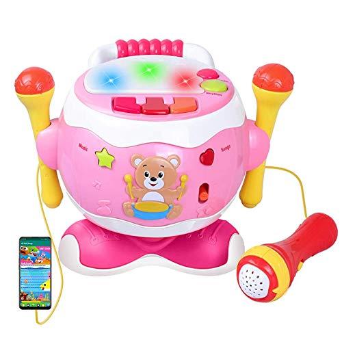 Rabing Kindertrommel, Baby Musical Trommel Toy, Musik Schlagzeug mit Blinkenden Lichtern und Mikrofon, Kinder Lernen Lernspiel für 1-6 Jahre