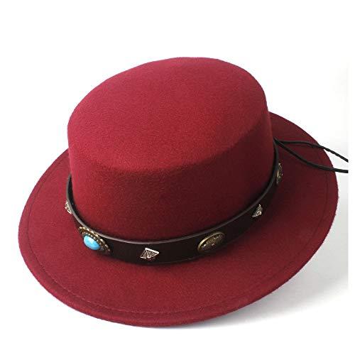 LHZUS Sombreros para mujer y hombre, de lana, con parte superior plana, sombrero steampunk, cinturón para papá, iglesia, ala ancha, sombrero de jazz, tamaño 56-58 cm (color: rojo vino, tamaño: 56-58)