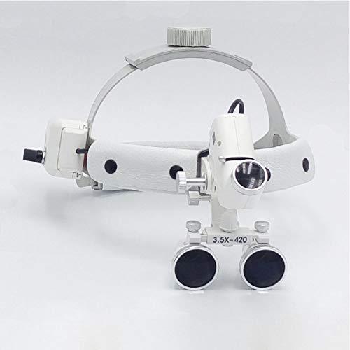 QPALZM Scheinwerferlupe - Geteilter LED-Scheinwerfer, Chirurgisches Fernglas, Lupe, Leder-Stirnband (2,5-mal, 3,5-mal), Verpackt In Einer Aluminiumbox.