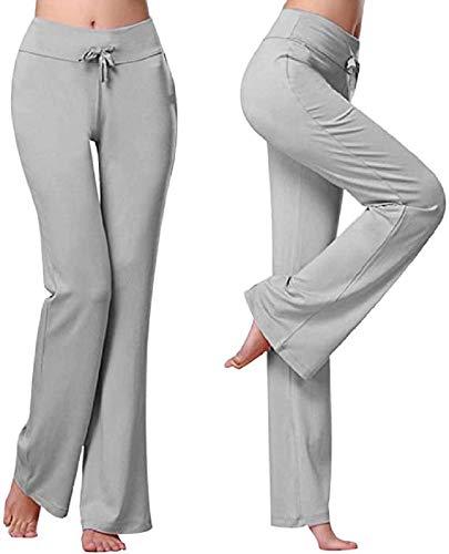 Voqeen Pantalones de Yoga Bootcut Mujer Modal Pantalones Deportivos Alta Cintura Elásticos Leggins Anticeluliticos Control de Barriga Cordón Pantalones de Trabajo (Gris, XL)