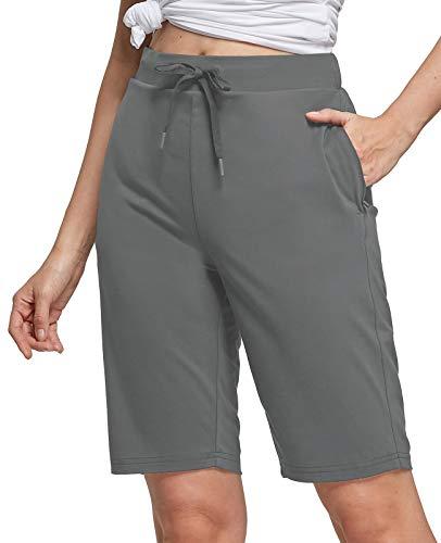 BALEAF Women's 10' Golf Bermuda Shorts with Zipper Pockets Long Hiking Shorts UPF 50+ Quick Dry Gray XL
