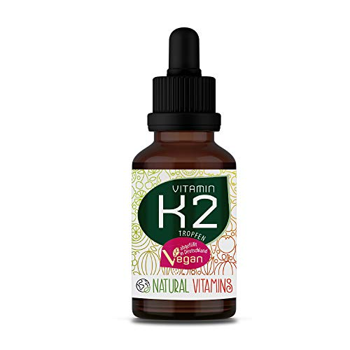 NATURAL VITAMINS® Vitamina K2 MK-7 200 µg I Alto contenido All-Trans 99,7% y fermentado naturalmente I Gnosis Vita MK7 dosis alta I 1700 gotas (50 ml) I Testado en laboratorio.