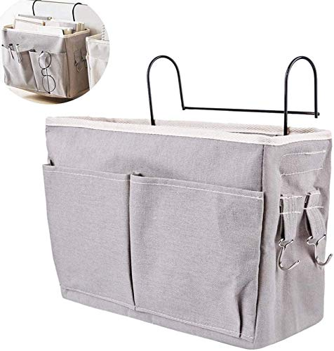 Bolsa de cama con marco de alambre, organizador de cama, bolsa de almacenamiento para libros, revistas, auriculares (gris)