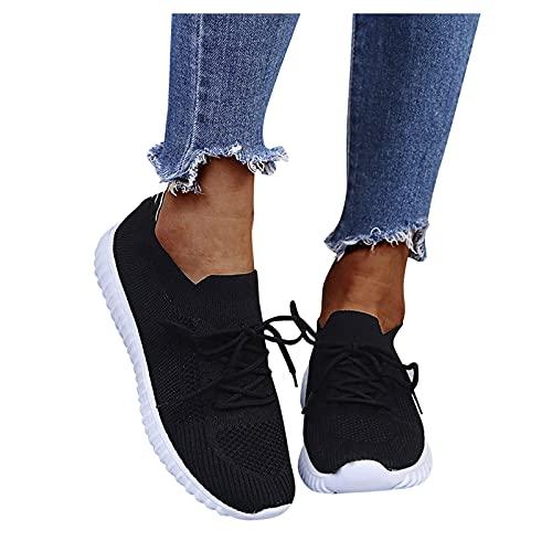 Winging Zapatillas de deporte de ocio al aire libre Calzado deportivo casual de suela gruesa de color sólido aumentado Zapatos casuales de mujer de moda Cuñas con cordones transpirables