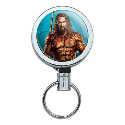 Aquaman – Carrete retráctil de metal resistente para tarjeta de identificación con clip para cinturón,…