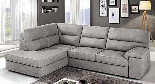Dafnedesign.Com - Sofá cama esquinero de 3 plazas con chaise longue a la izquierda Piel sintética efecto Nabuk Ash (cm. 252 x 196 x 96h
