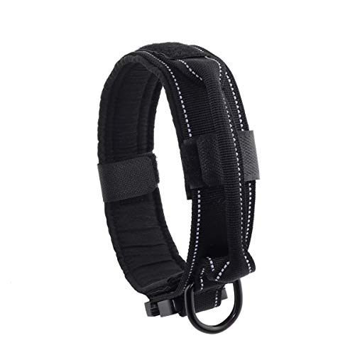 Yunleparks Highly Reflective Dog Collar Tactical Dog Collar with Military Nylon Heavy Duty Metal Buckle and Control Handle for Medium and Large Dogs,1.5' Width (M, Black)