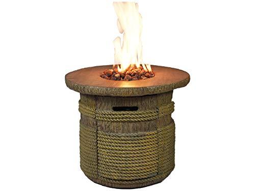 Traedgard Design Feuertisch Palermo mit Hülle und wunderschönen Lavasteinen | gasbetriebene Feuerstelle für Terrasse und Garten mit praktischer Abstellmöglichkeit