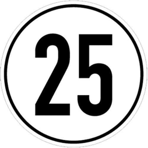 Aufkleber Geschwindigkeitsschild 25 km/h Folie selbstklebend 20cm Ø (Kraftfahrzeugschild, Kilometerschild, Höchstgeschwindigkeit) praxisbewährt, wetterfest