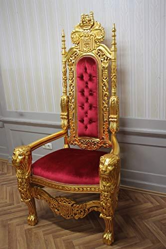 LouisXV Barock Sessel Stuhl Thron Prunksessel Antik Stil Blatt Gold Bezug Rot Antik Stil Massivholz. Replizierte Antiquitäten Buche Antikmessing.