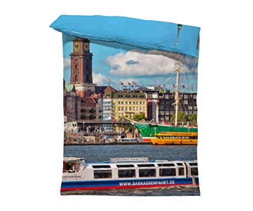 fotobar!style Bettbezug 135 x 200 cm Hamburg Hauptkirche Sankt Michaelis, Hamburger Michel