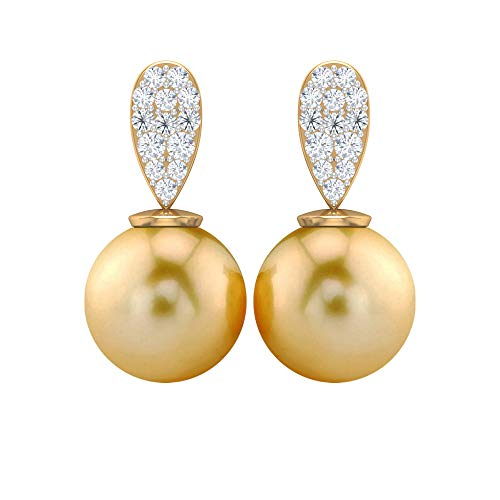 Pendiente clásico de boda, 9 quilates, 8 mm, perlas del mar del Sur, pendientes de gota, pendientes de diamante HI-SI, pendientes de gota, pendientes de perlas del mar del Sur 18K Oro amarillo, Par