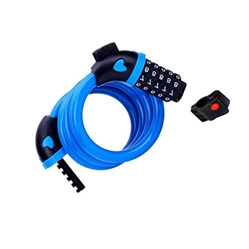 PINGDONGHANG Cable de bloqueo de bicicleta, cable básico de la bici, autoenrollable, combinación de cable de bloqueo de bicicleta con montaje de cortesía