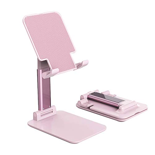 Foldable & Adjustable Tablet Stand, Extendable Compact Desktop Tablet Stand Holder Cradle Dock Compatible with Phones, Ipad Pro 11, Samsung Galaxy Tabs, Kindle, Nintendo Switch,Pink