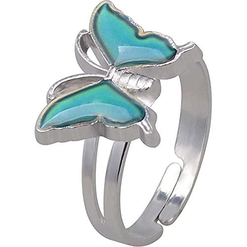 chaosong shop Anillo de estado de ánimo, cambio de color, emoción, anillo de dedo en forma de mariposa, anillo de cristal, termómetro sensor de dedo accesorio para mujeres y niñas