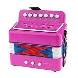 7 Teclas Con Efecto De Acordeón De Juguete Musical Para Niños De 3 Botones - Rosa roja