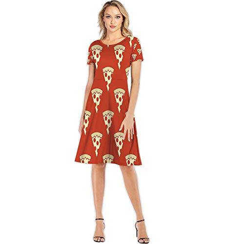 Pizza Slices Seamless Pattern - Pizza,Europe Fashion Elegant Lady Dress for Party Slice of Food XL