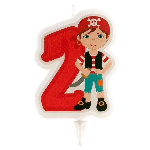 Dekora- Vela de Cumpleaños 2D de Pirata para Tartas Infantiles - Numero 2 (345256)