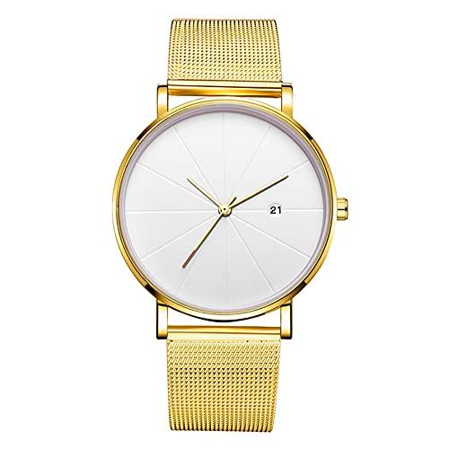 Reloj de pulsera mecánico de cuarzo para hombre Reloj de pulsera para hombres (correa de oro caja de oro esfera blanca mano de oro)