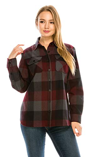 YAGO Women's Classic Standard Fit Outdoor Flannel Shirt