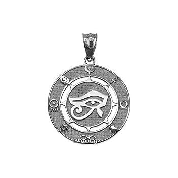 LA BLINGZ Sterling Silver Eye of Horus Good Luck Amulet Pendant