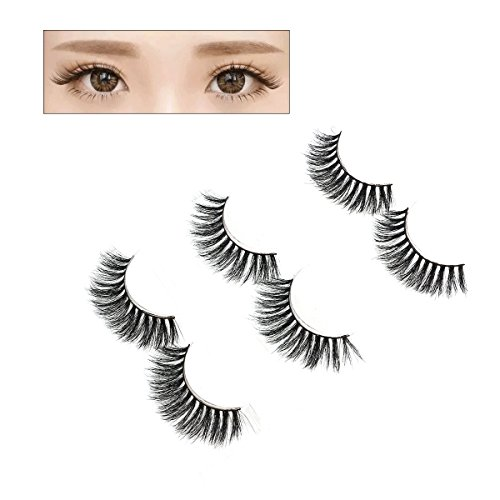 Frcolor 3 Pairs Natural Soft 3D Faux cils Mink Hair Long Thick Lashes pour les femmes Gril Lady (MK-01)