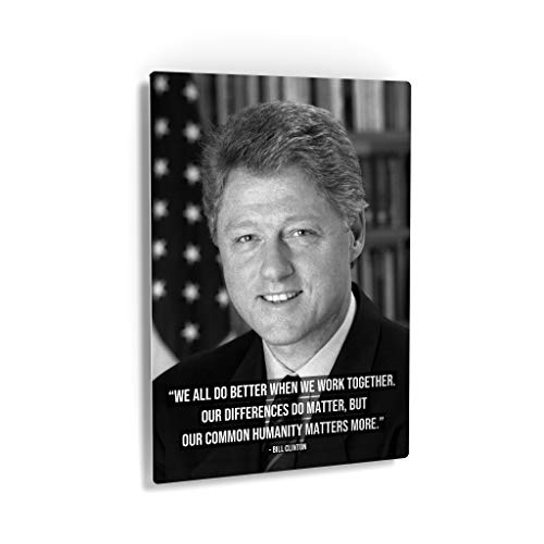Smile Art Design 42thPresident of The United States of America William Bill J. Clinton Portrait Motivational Quote Inspirational Metal Wall Art Print America History Office Living Room Decor 36x24