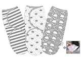 Baby Swaddle Wrap Newborn Blanket 0-3 Months 100% Organic Premium Cotton, Grey Pack of 3 Sleeping Blanket for...