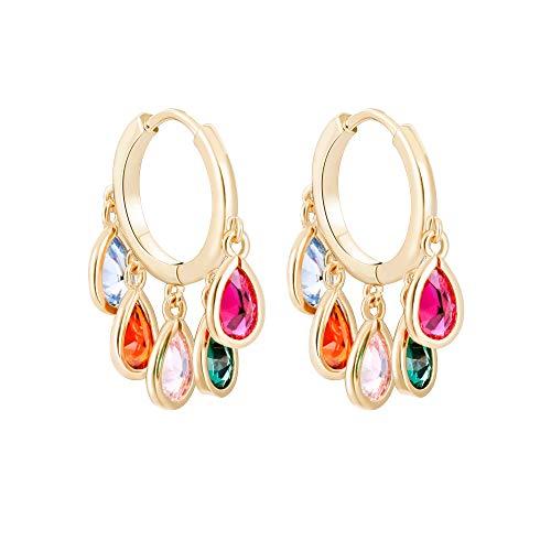 Water Drop Pendant Earrings For Women's, Cubic Zircon Crystal Inlaid Hoop Design, Hypoallergenic Materials, Exquisite Birthday Gifts For Girls