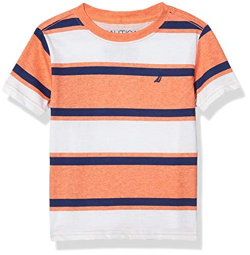 Nautica Boys' Short Sleeve Wide Striped Crew Neck T-Shirt, Orange, Large (14/16)