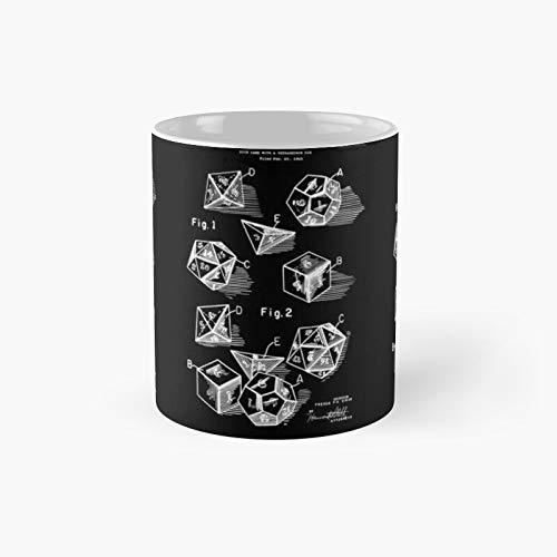 D20 Juego de dados de papel patentes impresiones 1999 clásico taza mejor regalo tazas de café divertidas 11 oz