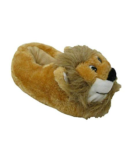 Carcassi Kids Childrens 3D Novelty Lion Slippers for Girls Boys House Shoes Sizes 9-2 (Numeric_11) Tan