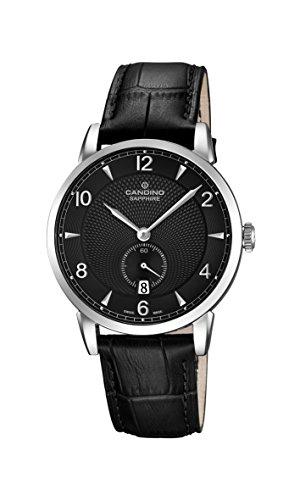 Candino Reloj Hombre de Cuarzo con Negro Esfera analógica Pantalla y Correa de Cuero Negro C4591/4