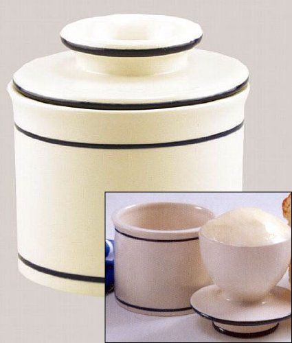 Norpro Butter Keeper 4' X 3-3/4' Ceramic Natural Color Box