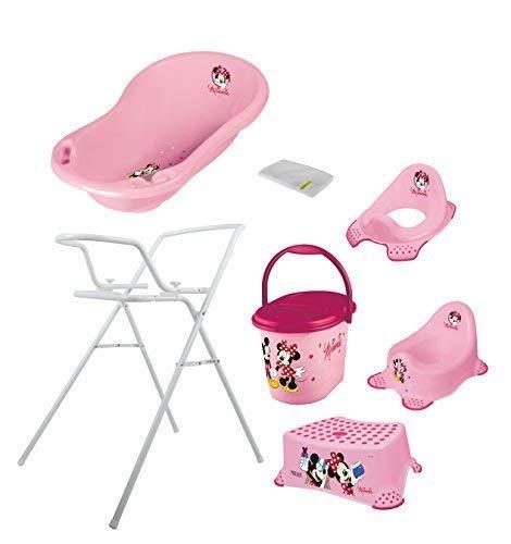 7er Set Disney Minni Maus weiß Badewanne 84 cm + Badewannenständer + Topf + WC Aufsatz + Hocker + Windeleimer + Waschhandschuh